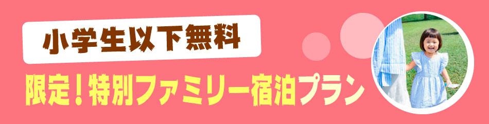 【小学生以下無料】限定!特別ファミリー宿泊プラン